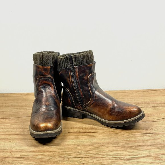 Muk Luks Rust & Brown Bobbi Boots Ankle Boots